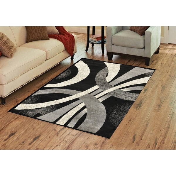 Alida Lopped Area Rug 6100 Gray-Black 4' x 5' - 4' x 5'