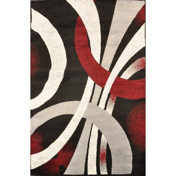 Alida Lopped Area Rug 6100 Red-Black 4' x 5' - 4' x 5'