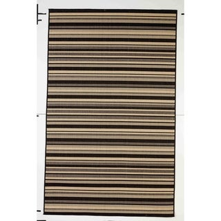 Stripes Indoor/Outdoor Rugs Flatweave Contemporary Patio, Pool, Camp and Picnic Carpets FW 575 Black 2.4' x 7' - 2.4' x 7'