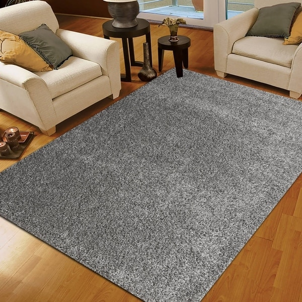 Moon Solid Shag Modern Plush Colors and Sizes Gray 8' x 10' - 8' x 10'