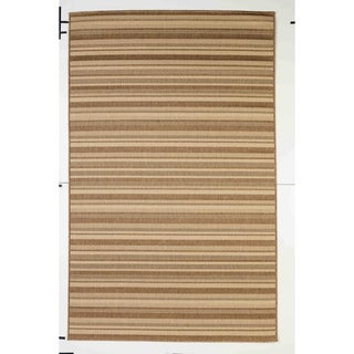 Stripes Indoor/Outdoor Rugs Flatweave Contemporary Patio, Pool, Camp and Picnic Carpets FW 575 Dark Brown 5' x 8' - 5' x 8'