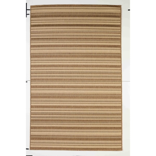 Stripes Indoor/Outdoor Rugs Flatweave Contemporary Patio, Pool, Camp and Picnic Carpets FW 575 Dark Brown 2' x 3.6' - 2' x 3.6'