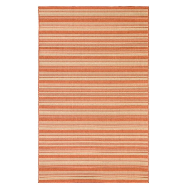 Stripes Indoor/Outdoor Rugs Flatweave Contemporary Patio, Pool, Camp and Picnic Carpets FW 575 Coral 2.4' x 7' - 2.4' x 7'