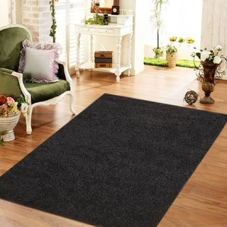 Moon Solid Shag Modern Plush Colors and Sizes Black 8' x 10' - 8' x 10'