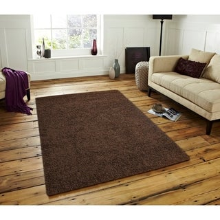 Moon Solid Shag Modern Plush Colors and Sizes Brown 8' x 10' - 8' x 10'