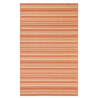 Stripes Indoor/Outdoor Rugs Flatweave Contemporary Patio, Pool, Camp and Picnic Carpets FW 575 Coral 2' x 3.6' - 2' x 3.6'