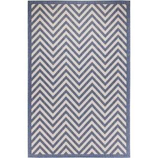 Chevron Indoor/Outdoor Rugs Flatweave Contemporary Patio, Pool, Camp and Picnic Carpets FW 801 Dark Blue 4' x 6' - 4' x 6'