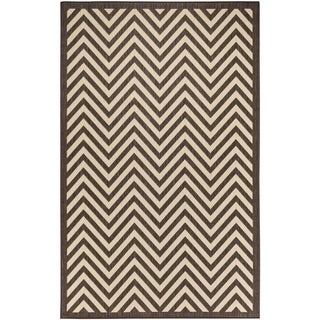 Chevron Indoor/Outdoor Rugs Flatweave Contemporary Patio, Pool, Camp and Picnic Carpets FW 801 Dark Brown 4' x 6' - 4' x 6'