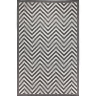 Chevron Indoor/Outdoor Rugs Flatweave Contemporary Patio, Pool, Camp and Picnic Carpets FW 801 Light Gray 5' x 8' - 5' x 8'