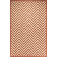 Chevron Indoor/Outdoor Rugs Flatweave Contemporary Patio, Pool, Camp and Picnic Carpets FW 801 Coral 4' x 6' - 4' x 6'