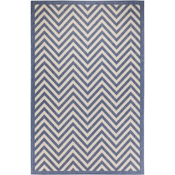 Chevron Indoor/Outdoor Rugs Flatweave Contemporary Patio, Pool, Camp and Picnic Carpets FW 801 Dark Blue 5' x 8' - 5' x 8'
