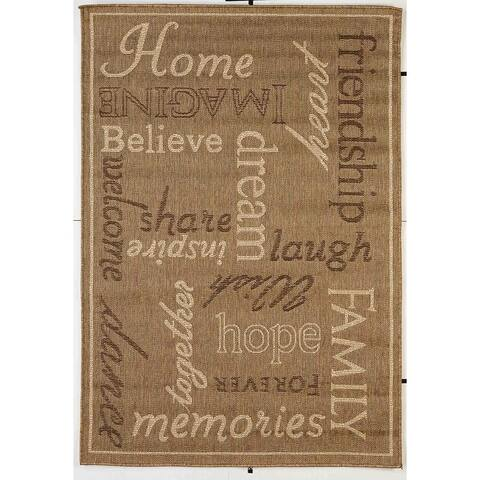 Home Indoor/Outdoor Rugs Flatweave Contemporary Patio, Pool, Camp and Picnic Carpets FW 444 Gold/Beige 5' x 8' - 5' x 8'