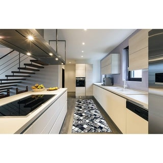 "Large Hallway 1-set 36x96"" Newruz Print Bath Mat Absorbent Soft Kitchen Floor Area Rug Non-slip Carpet Black-White - 3' x 8'"