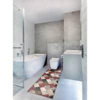 "Bath 1-set 24x60"" Newruz Print Mat Absorbent Soft Kitchen Floor Area Rug Non-slip Carpet Maroon-Beige - 2' x 5'"