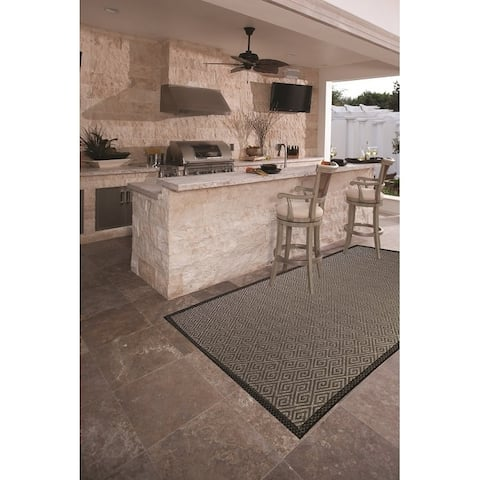 """Tradewind Indoor/Outdoor Rugs Flatweave Contemporary Patio, Pool, Camp and Picnic Carpets FW 560 Gray - 18"""" x 30""""/17"""" x 15"""""""