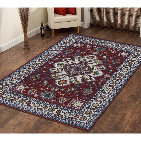 Persian Style Traditional Oriental Medallion Area Rug KLM 250 Blue 3' x 5' - 3' x 5'
