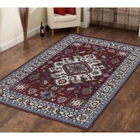 Persian Style Traditional Oriental Medallion Area Rug KLM 250 Blue 5' x 7' - 5' x 7'