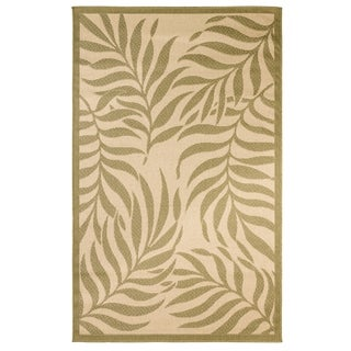 Tropical Indoor/Outdoor Rugs Flatweave Contemporary Patio, Pool, Camp and Picnic Carpets FW 513 Beige/Green 4' x 6' - 4' x 6'