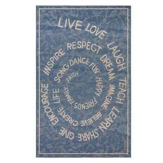 LLL Indoor/Outdoor Rugs Flatweave Contemporary Patio, Pool, Camp and Picnic Carpets FW 222 Blue 4' x 6' - 4' x 6'