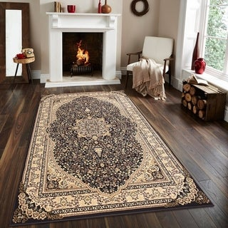 Persian Style Traditional Oriental Medallion Area Rug Empire 750 Beige 5' x 7' - 5' x 7'