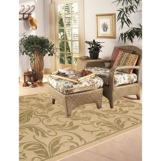 Breeze Indoor/Outdoor Rugs Flatweave Contemporary Patio, Pool, Camp and Picnic Carpets FW 558 Beige/Green 5' x 8' - 5' x 8'