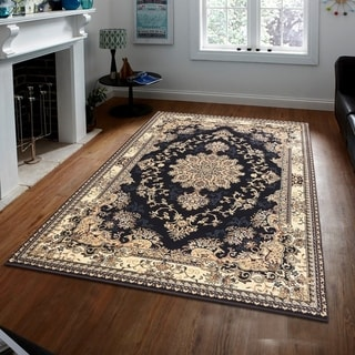 Persian Style Traditional Oriental Medallion Area Rug Empire 300 Beige 5' x 7' - 5' x 7'