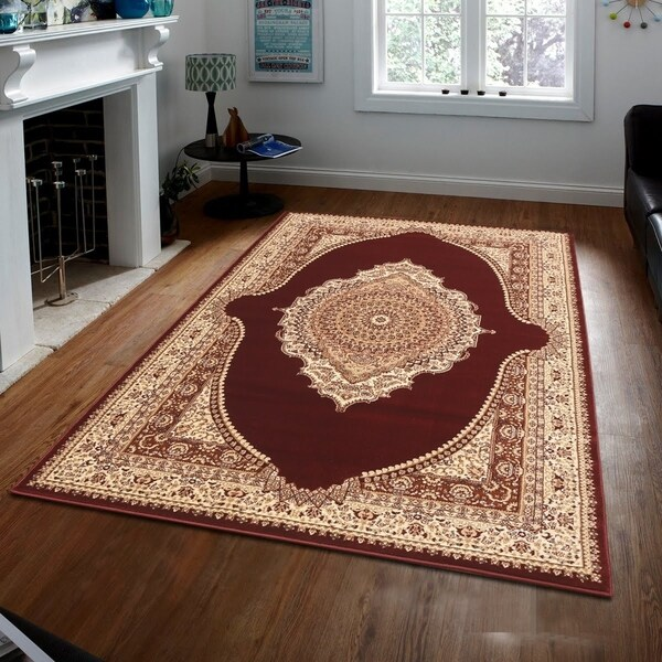 Persian Style Traditional Oriental Medallion Area Rug Empire 650 Beige 5' x 7' - 5' x 7'