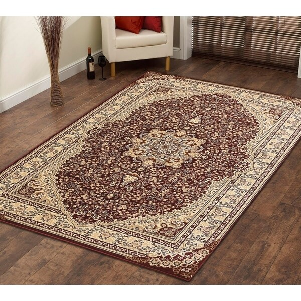 Persian Style Traditional Oriental Medallion Area Rug Empire 800 Beige 5' x 7' - 5' x 7'