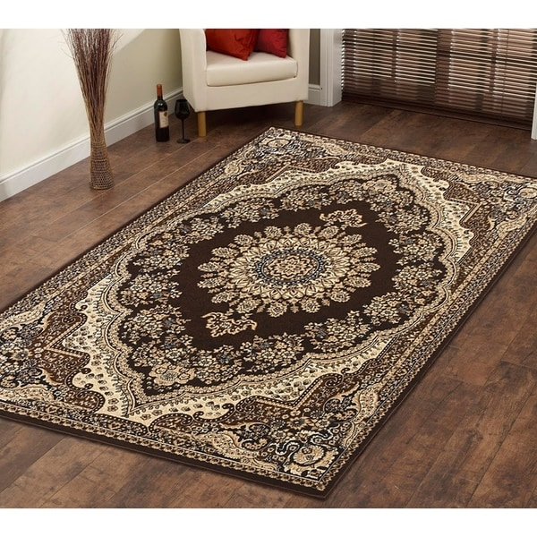 Persian Style Traditional Oriental Medallion Area Rug Empire 1000 Beige 5' x 7' - 5' x 7'