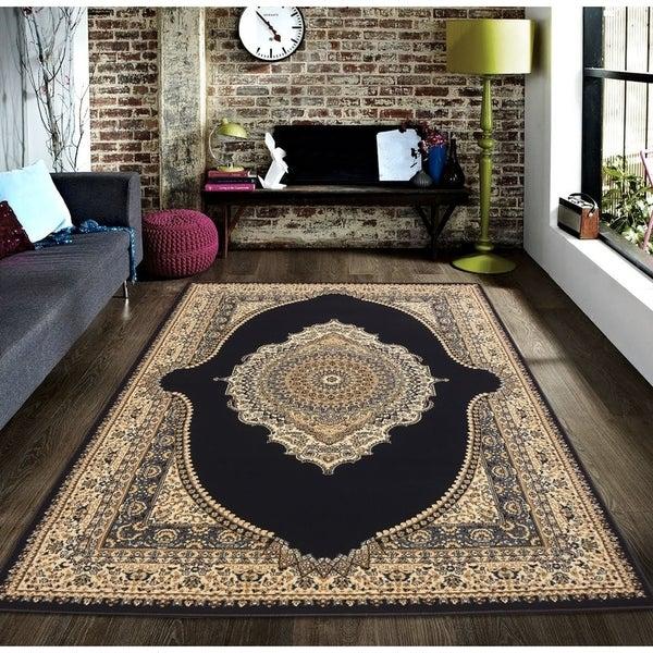 Persian Style Traditional Oriental Medallion Area Rug Empire 600 Beige 8' x 10' - 8' x 10'