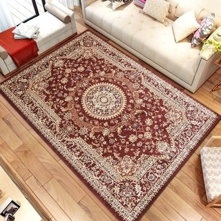 Persian Style Traditional Oriental Medallion Area Rug Empire 950 Beige 5' x 7' - 5' x 7'