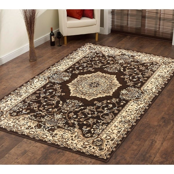 Persian Style Traditional Oriental Medallion Area Rug Empire 100 Beige 5' x 7' - 5' x 7'