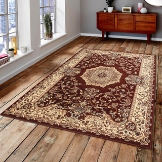 Persian Style Traditional Oriental Medallion Area Rug Empire 200 Beige 2' x 3' - 2' x 3'
