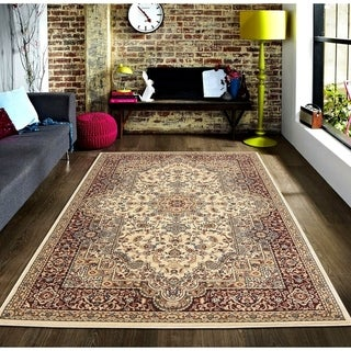 Persian Style Traditional Oriental Medallion Area Rug Empire 500 Beige 8' x 10' - 8' x 10'