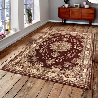 Persian Style Traditional Oriental Medallion Area Rug Empire 350 Beige 5' x 7' - 5' x 7'