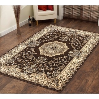 Persian Style Traditional Oriental Medallion Area Rug Empire 100 Beige 2' x 3' - 2' x 3'