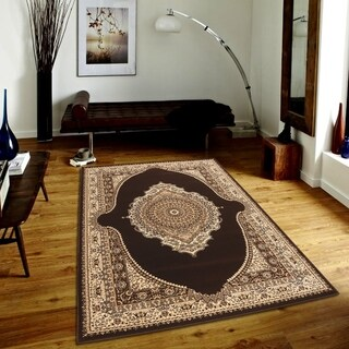 Persian Style Traditional Oriental Medallion Area Rug Empire 550 Beige 5' x 7' - 5' x 7'