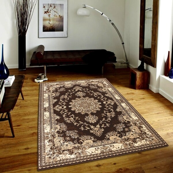 Persian Style Traditional Oriental Medallion Area Rug Empire 250 Beige 2' x 3' - 2' x 3'