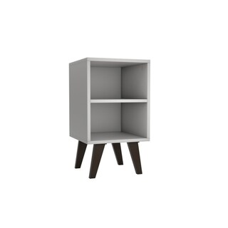 Mid Century- Modern Amsterdam Nightstand 2.0 with 2 Shelves  in White