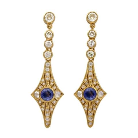 18K Yellow Gold Diamond and Sapphire Vintage Earrings (J-K,SI1-SI2)