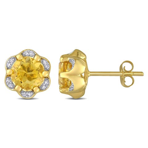 Miadora 14k Yellow Gold Citrine and Diamond Accent Flower Stud Earrings