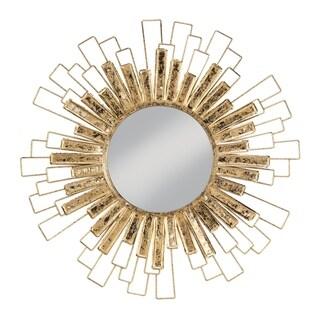 Gold Foil Sunburst Wall Mirror - Antique Gold