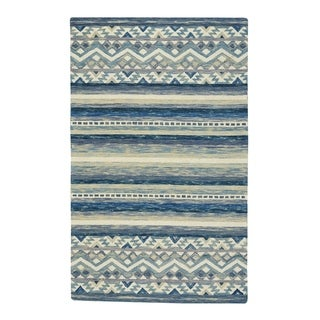 "Capel Rugs Shakta-Kelim Blue Hand Tufted Rectangle Area Rug - 3' 6"" x 5' 6"""