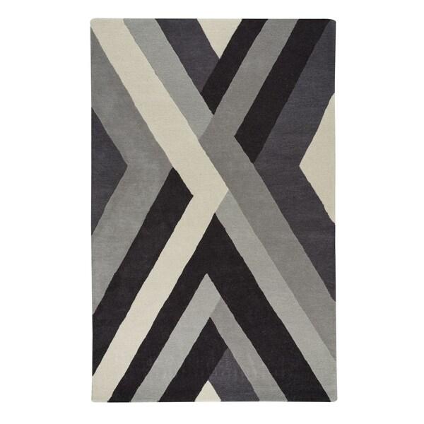 Capel Rugs Genevieve Gorder Crossroads Grey Wool Handmade Area Rug - 9' x 12'