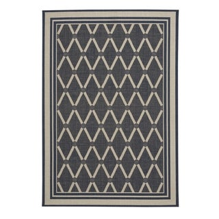 "Capel Rugs Biltmore Elsinore-Lattice Midnight Blue Machine Woven Rectangle Area Rug - 3' 11"" x 5' 6"""