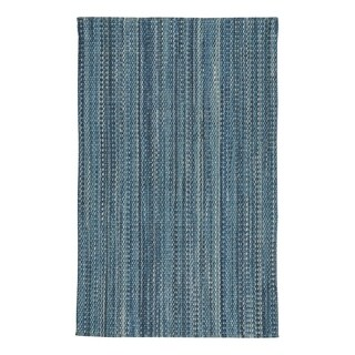 Capel Rugs Lawson Medium Blue Flat Woven Vertical Stripe Rectangle Accent Rug - 2' x 3'