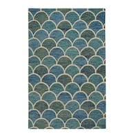 Capel Rugs Handmade Genevieve Gorder Arches Blue Rectangle Area Rug - 8' x 10'