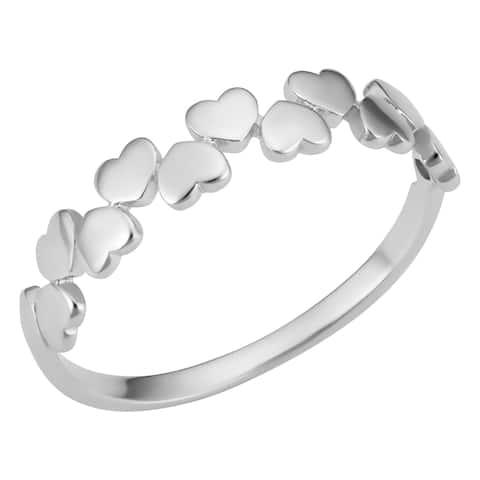14k White Gold High Polish Hearts Ring (size 4-7)