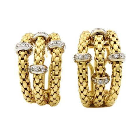 18k Yellow Gold Vintage Giant Huggy Earrings (G-H,SI1-SI2)