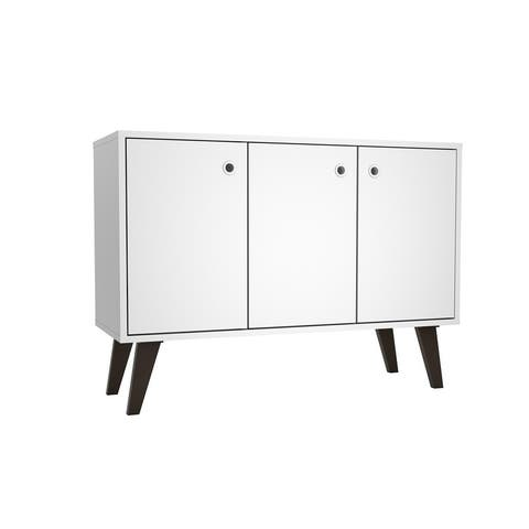 """Mid Century- Modern Bromma 35.43"""" Sideboard 2.0 with 3 Shelves in White"""